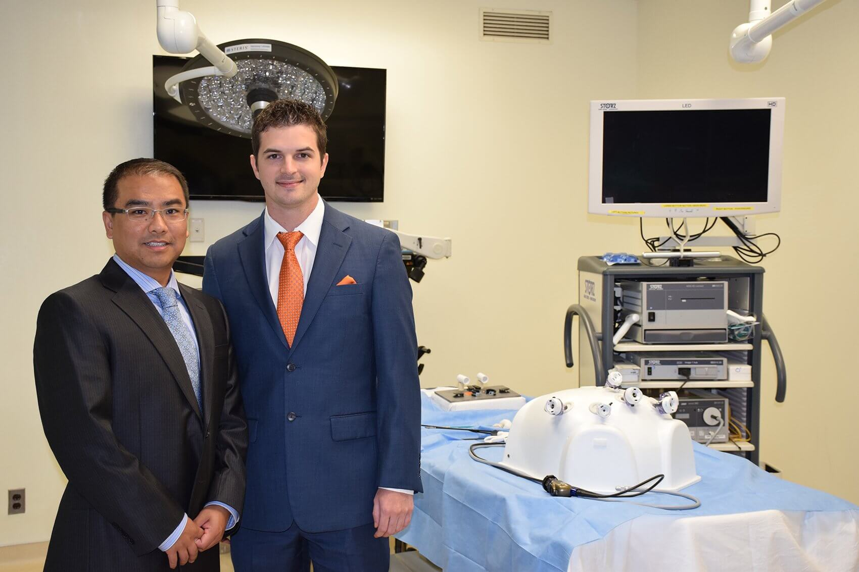 Andrew Zhang, M.D., UTMB assistant professor of surgery, and Shelby Lies, M.D., UTMB chief plastic surgery resident.