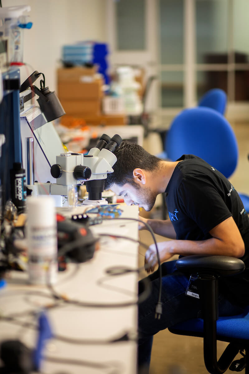 Design engineer intern Sergio Lopez works at the AT&T Foundry for Connected Health at the Texas Medical Center, which develops digital health solutions that bridge the gap between the clinical and home setting.