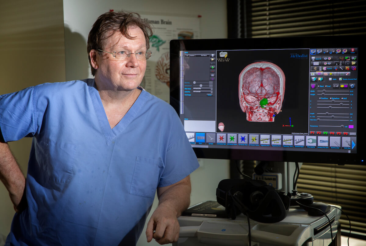 Houston Methodist neurosurgeon Gavin Britz, MBBCh, MBA, MPH, and the Surgical Theater 3D visualization platform.