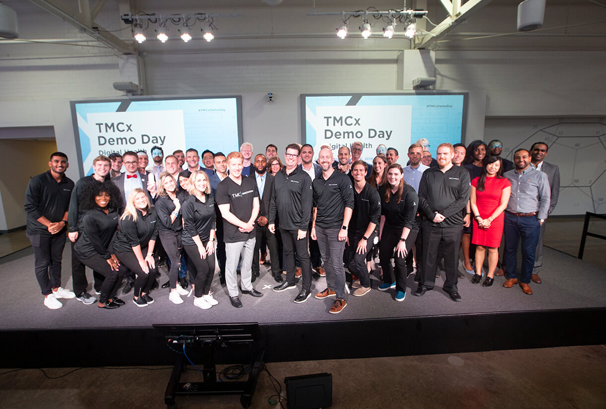 Representatives of the 19 companies presenting at TMCx Demo Day on June 6, 2019. (Photo by Cody Duty)