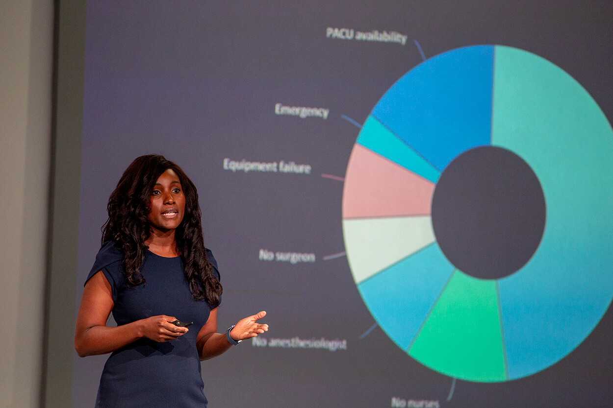 Houston anesthesiologist Christiana Obi, O.D., pitches her preoperative clearance platform, PreOp MD, at TMCx Demo Day on June 6, 2019. (Photo by Cody Duty)