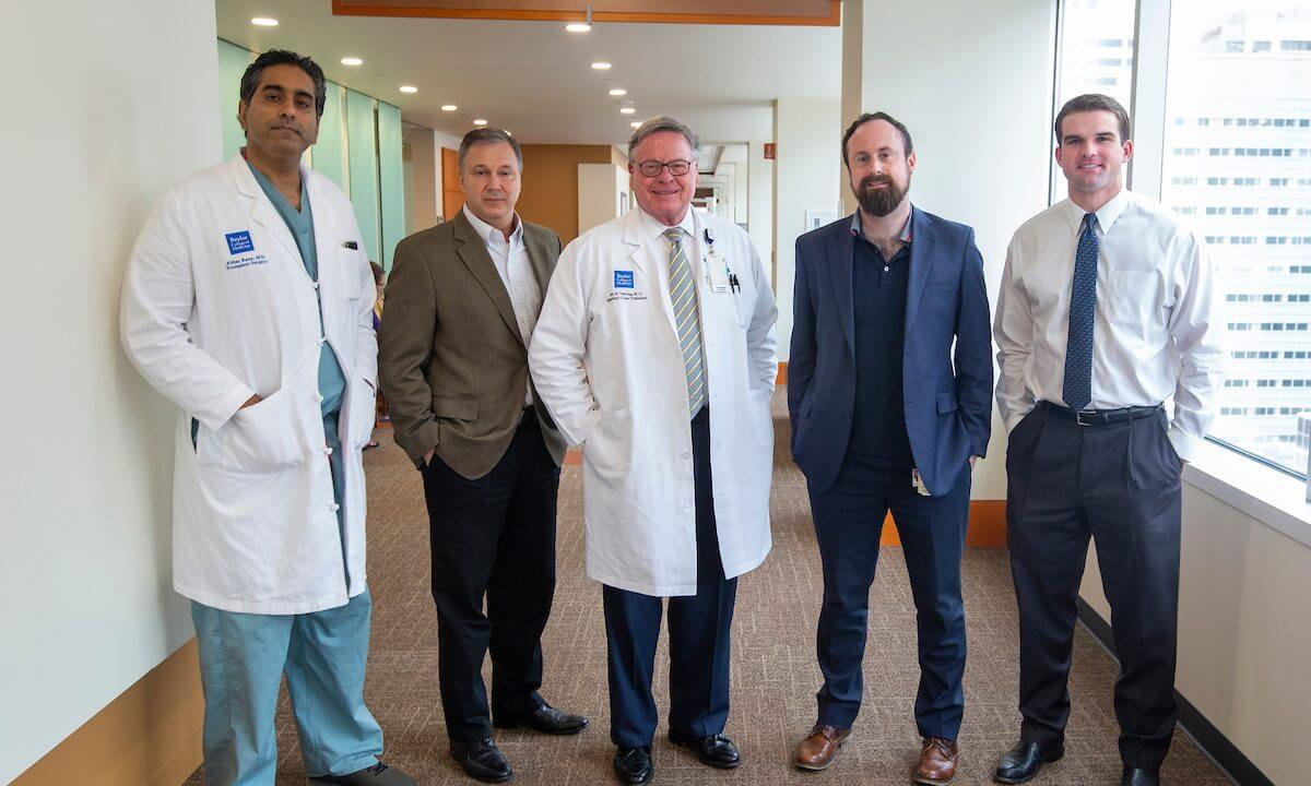 From left: Abbas Rana, M.D.; InformAI CEO Jim Havelka; John Moore Vierling, M.D.; Stuart Corr, Ph.D. and Rowland Pettit, an M.D./Ph.D. student at Baylor College of Medicine, are working on the development of artificial intelligence (AI) to better match donors and patients.