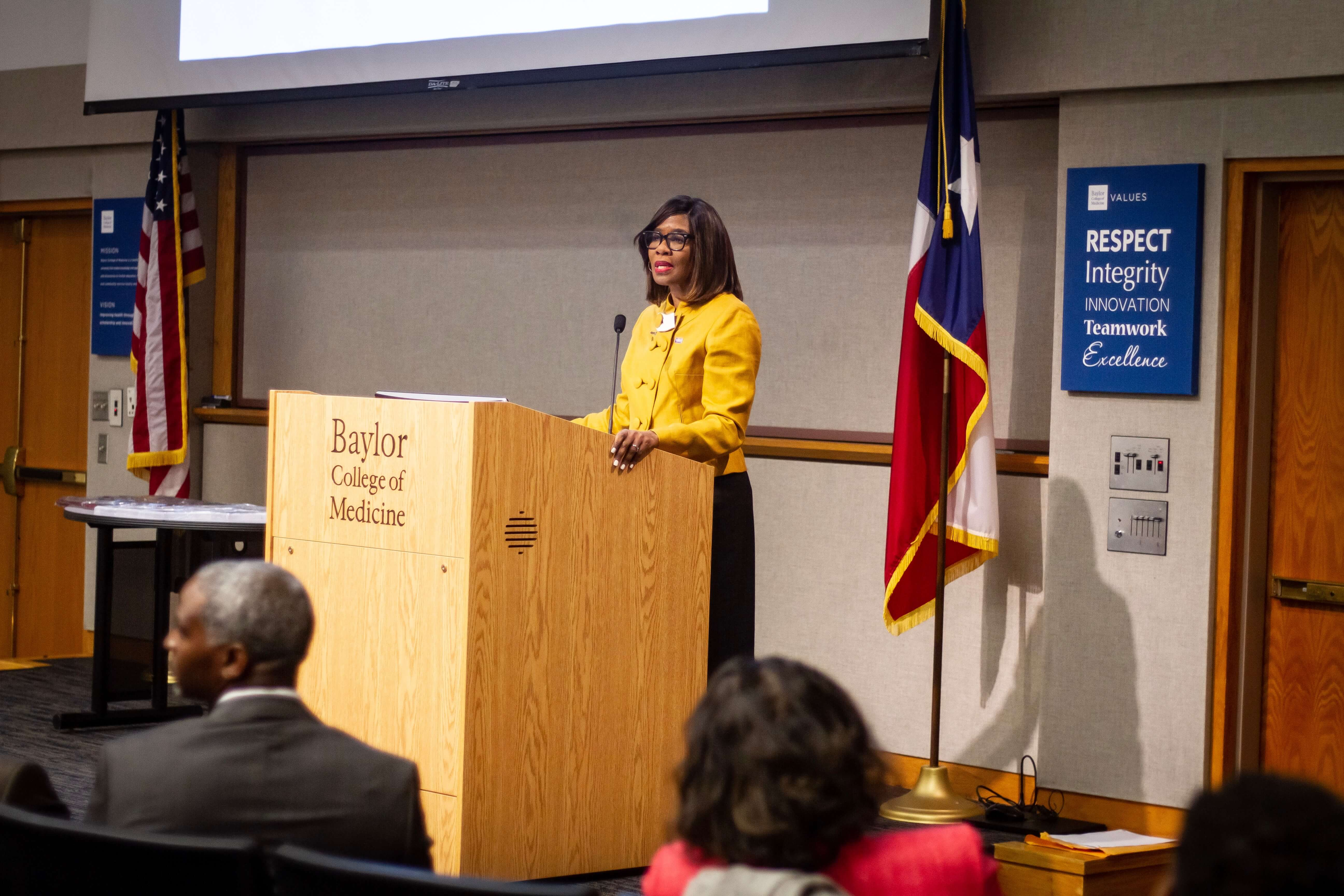 Patrice Harris, M.D., who became the 174th president of the American Medical Association in June 2019, delivers an address at Baylor College of Medicine on June 18, 2019. (Photo courtesy of Baylor College of Medicine)