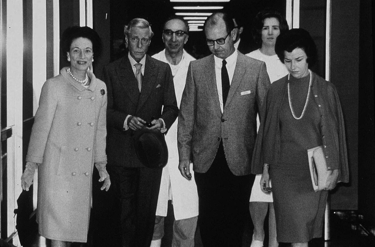In 1964, the Duke of Windsor (formerly King Edward VIII) came to Houston with an aneurysm in his abdomen for surgery by Michael E. DeBakey, M.D. Pictured from left to right: Wallis Simpson (Duchess of Windsor), Duke of Windsor, DeBakey, Ted Bowen, Pat Temple and Gloria Hahneman.