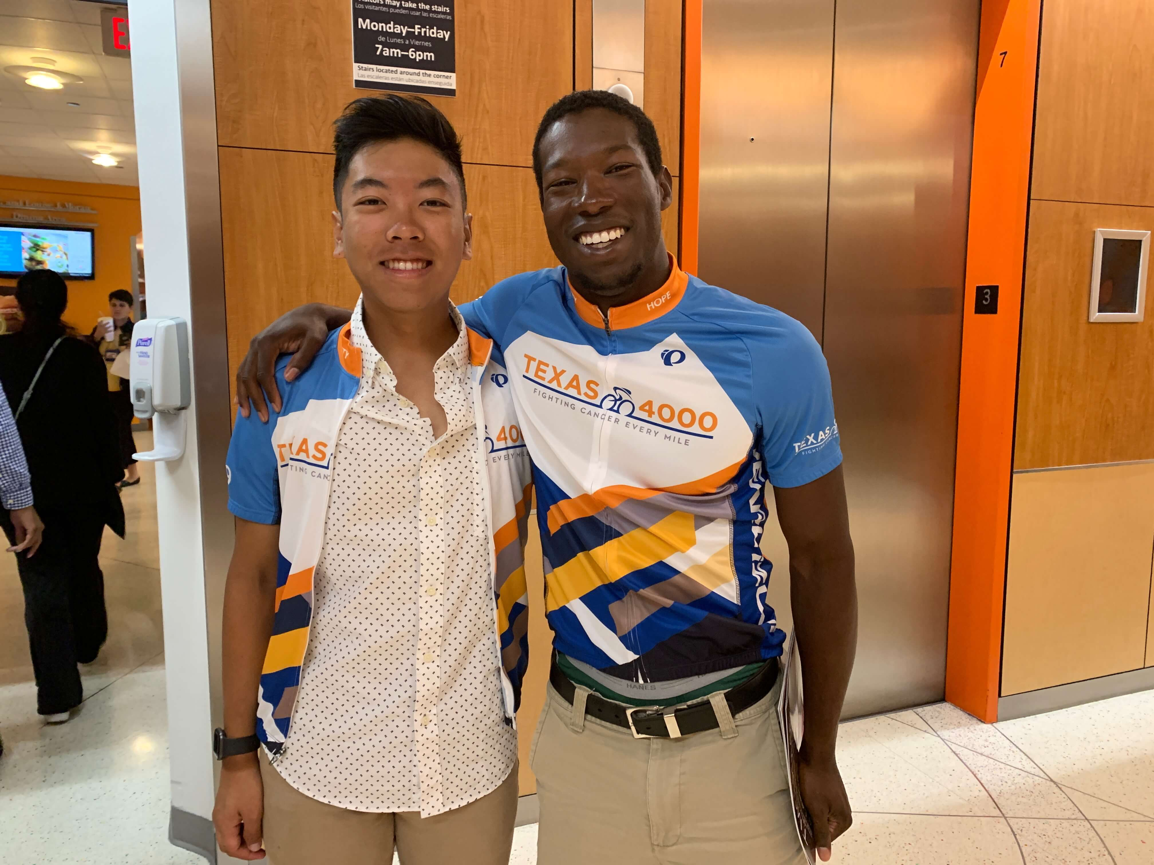 Texas 4000 riders Brandon Nguyen, a recent UT graduate, and UT graduate student Marlon Bailey at Texas Children's Hospital.
