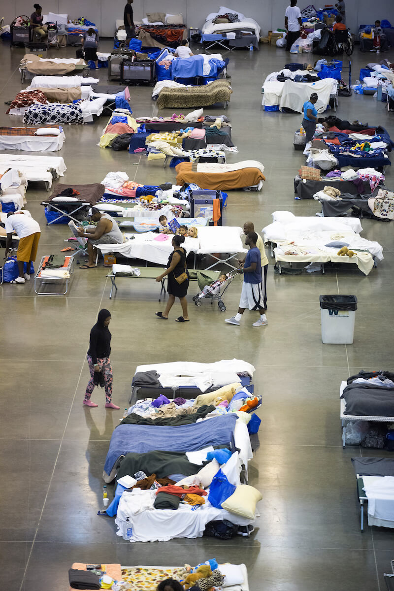 Emergency shelters were set up around Houston to house the thousands of people who had been displaced by the storm.