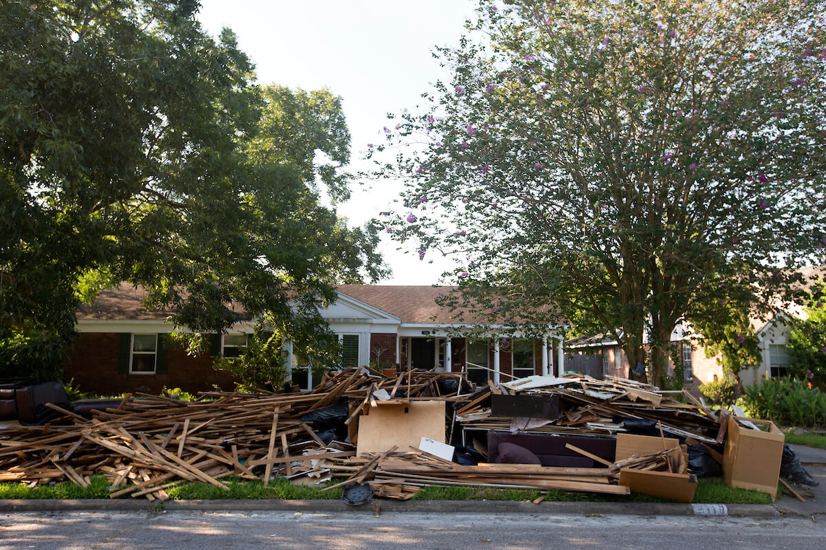A home in Meyerland is stripped of its contents in the aftermath of floodwater damage.
