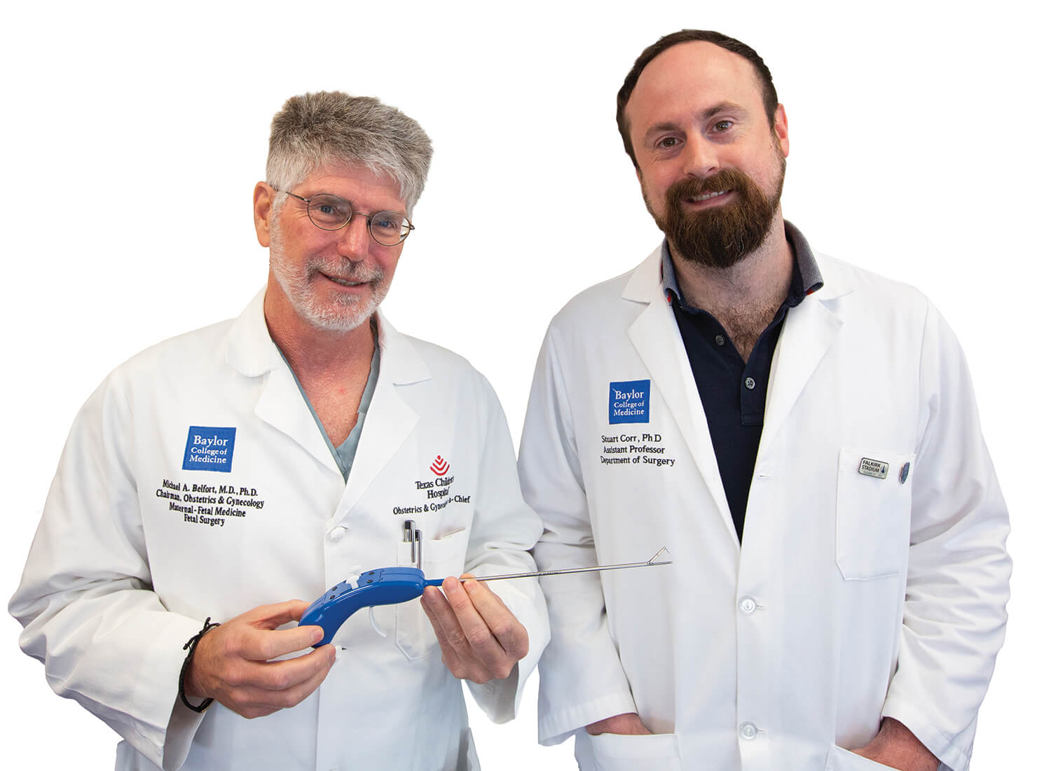 Michael A. Belfort, M.D., and Stuart J. Corr, Ph.D., collaborated to create TinyStitch. Belfort is holding the device.