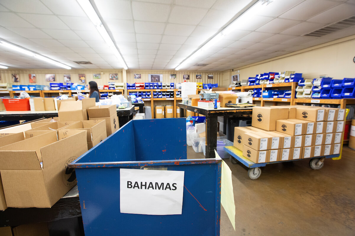 A Medical Bridges cart denotes the destination for medical supplies headed to the Bahamas following the devastation of Hurricane Dorian.