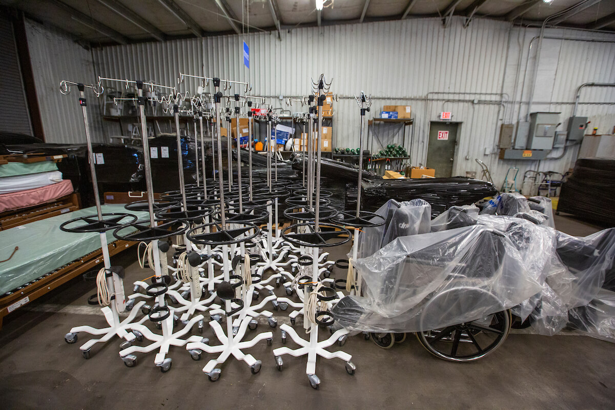 Larger medical equipment is assembled for shipment to the Bahamas.
