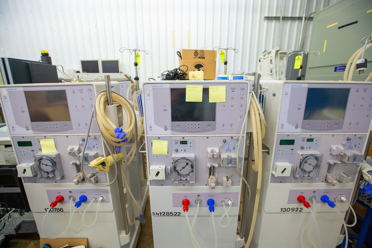 Surplus dialysis machines await shipment to the Bahamas.