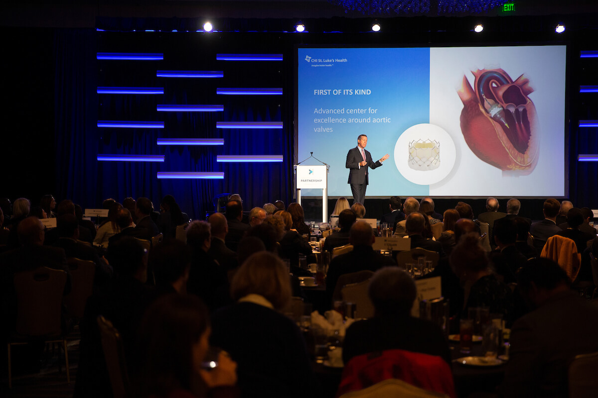 """Texas Medical Center President and CEO William F. """"Bill"""" McKeon outlines the future of the medical city during the State of the Texas Medical Center luncheon presented by the Greater Houston Partnership on Oct. 31, 2019."""