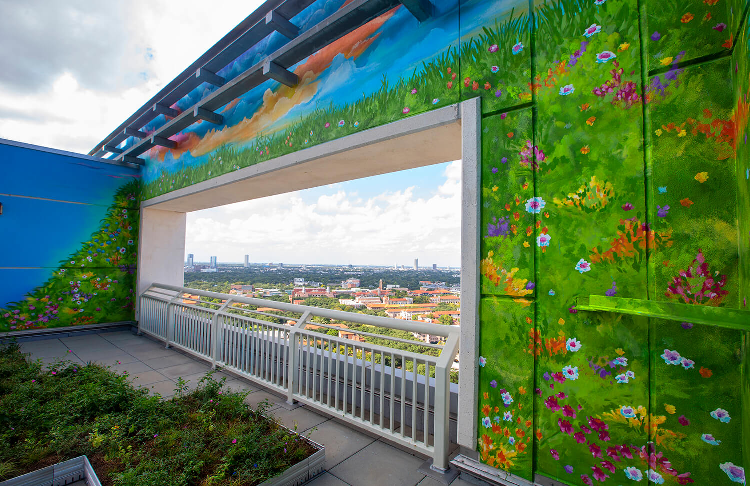 The garden is meant to resemble a peaceful, open meadow to ease patients' spirits.