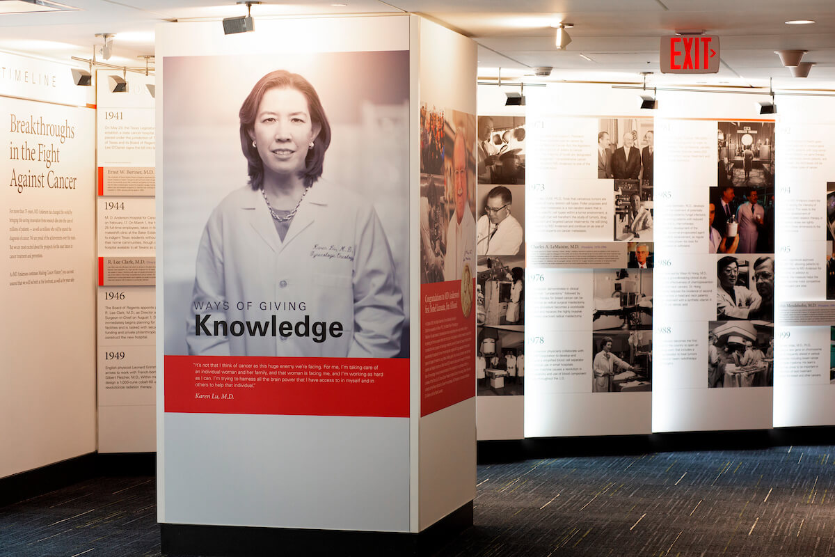 MD Anderson physicians and researchers are highlighted in the exhibit for their contributions to the hospital's mission.