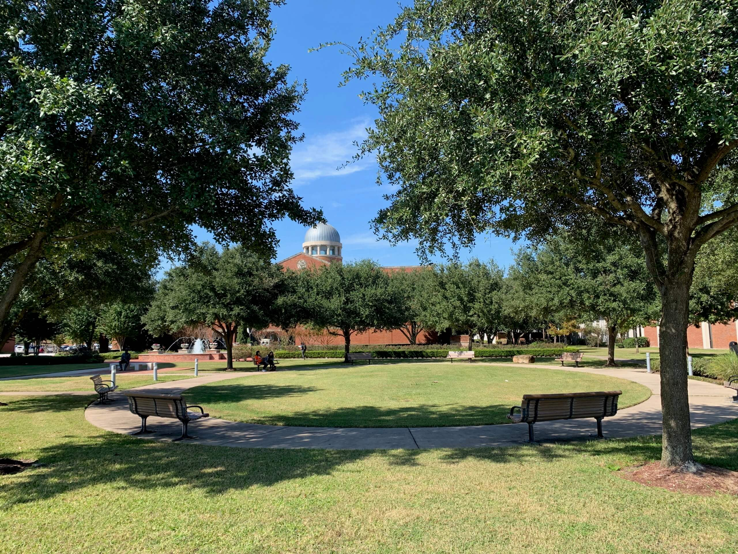 A fall day on the Houston Baptist University campus.