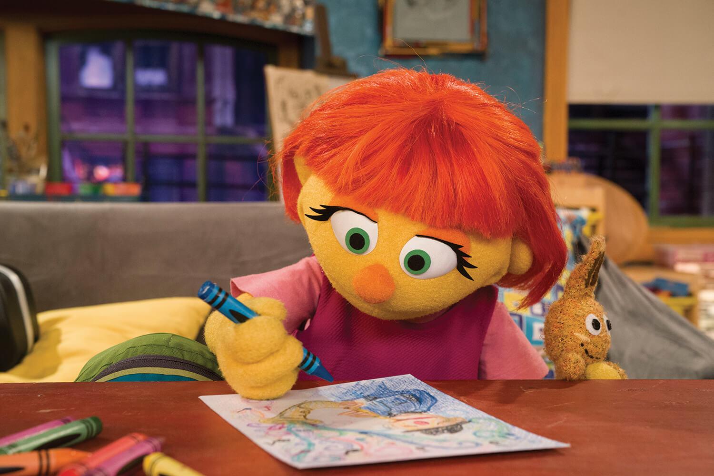 "Julia colors on an episode of ""Sesame Street."