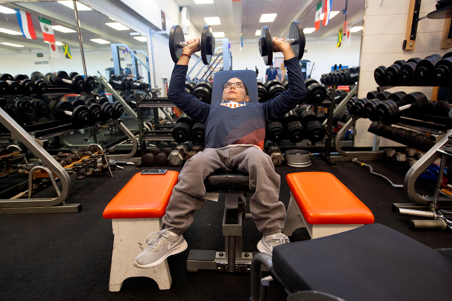 Kaitlyn Eaton works out at the university's Disability Resources and Educational Services center.
