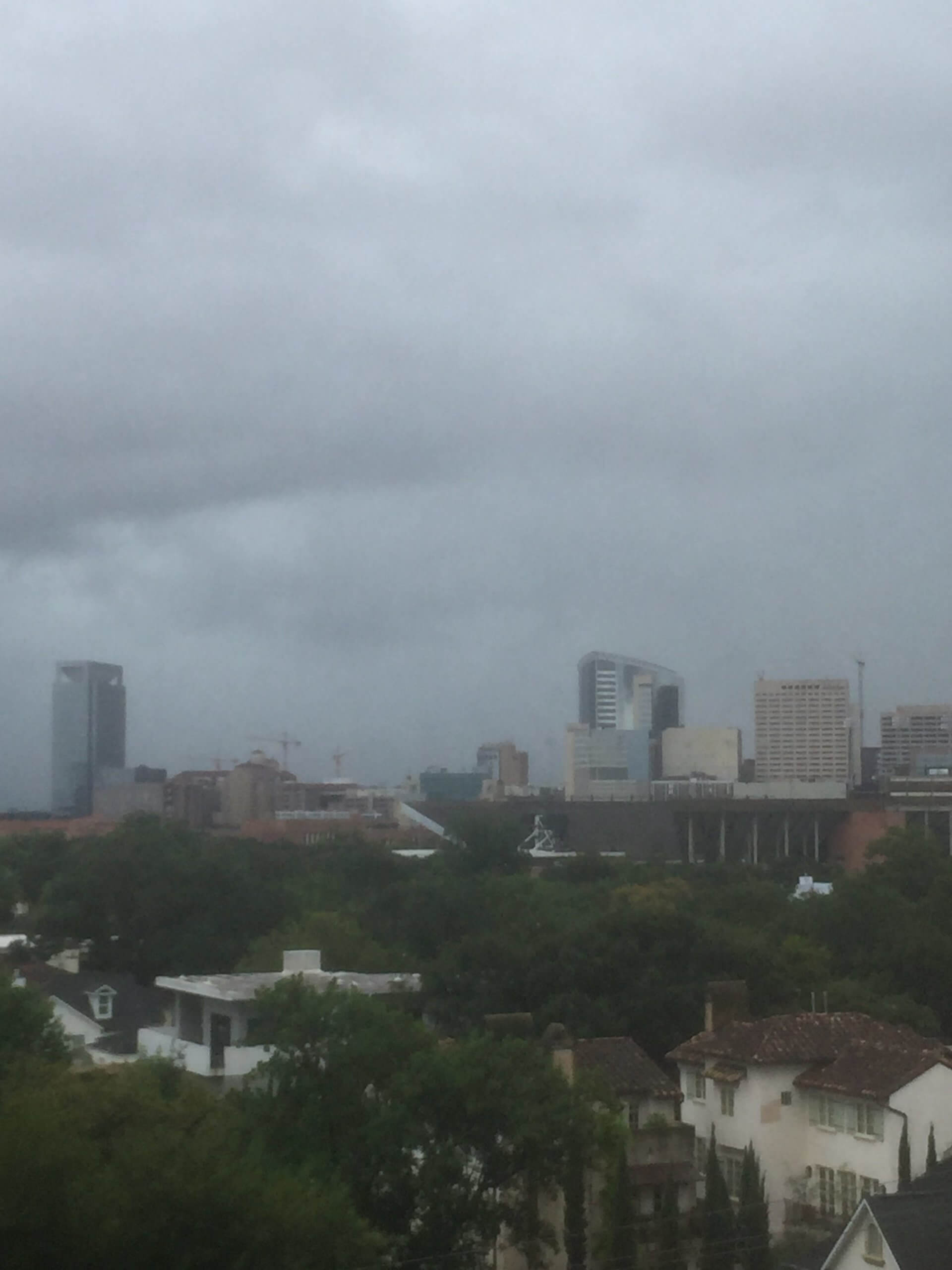 A photo taken on August 27, 2017 shows the rainy skies as Harvey hit the city.