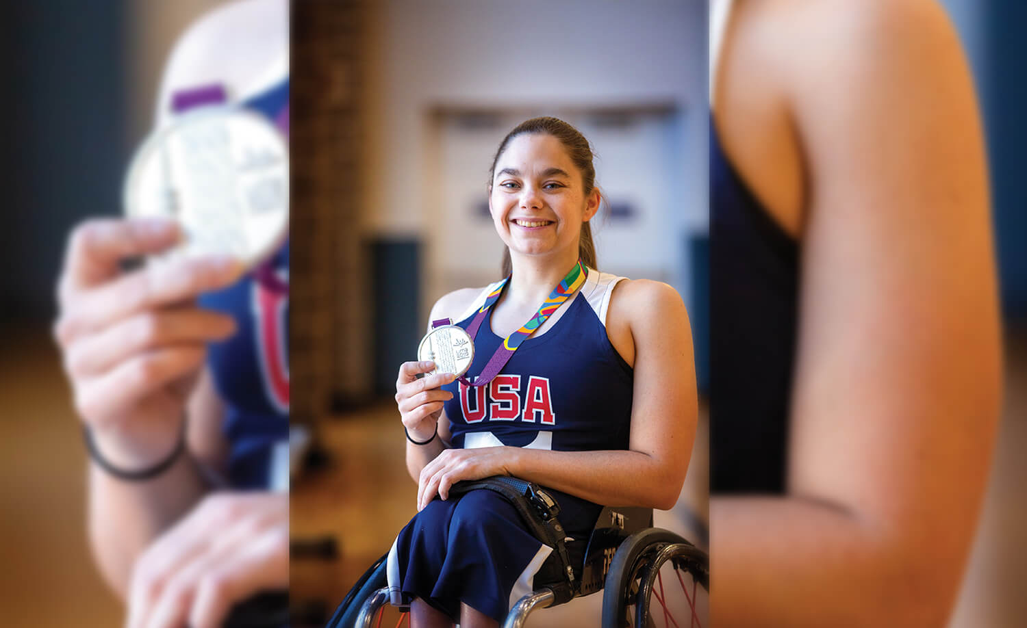 Kaitlyn Eaton shows off her silver medal from the 2019 Parapan American Games in Lima, Peru.