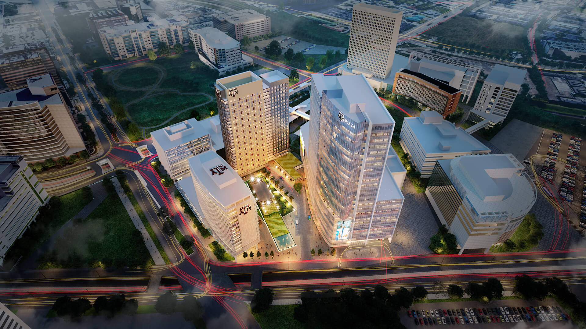 Aerial rendering of the Texas A&M University complex in Houston's Texas Medical Center announced on Feb. 20, 2020. (Courtesy photo)