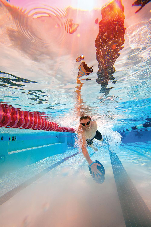 Matt Kintzele swims laps at his local YMCA in Katy, Texas, on Feb. 1, 2020.