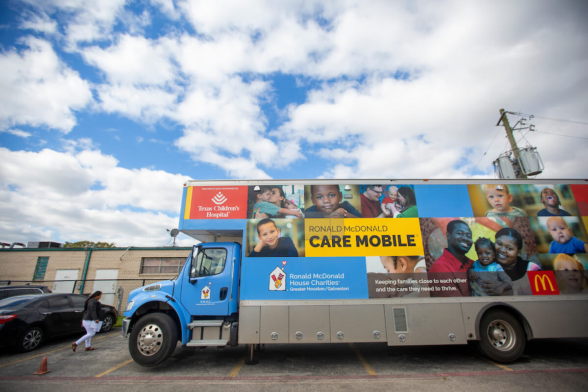 The Ronald McDonald Care Mobile visits the Bellfort Early Childhood Center on Houston's southeast side in February 2020.