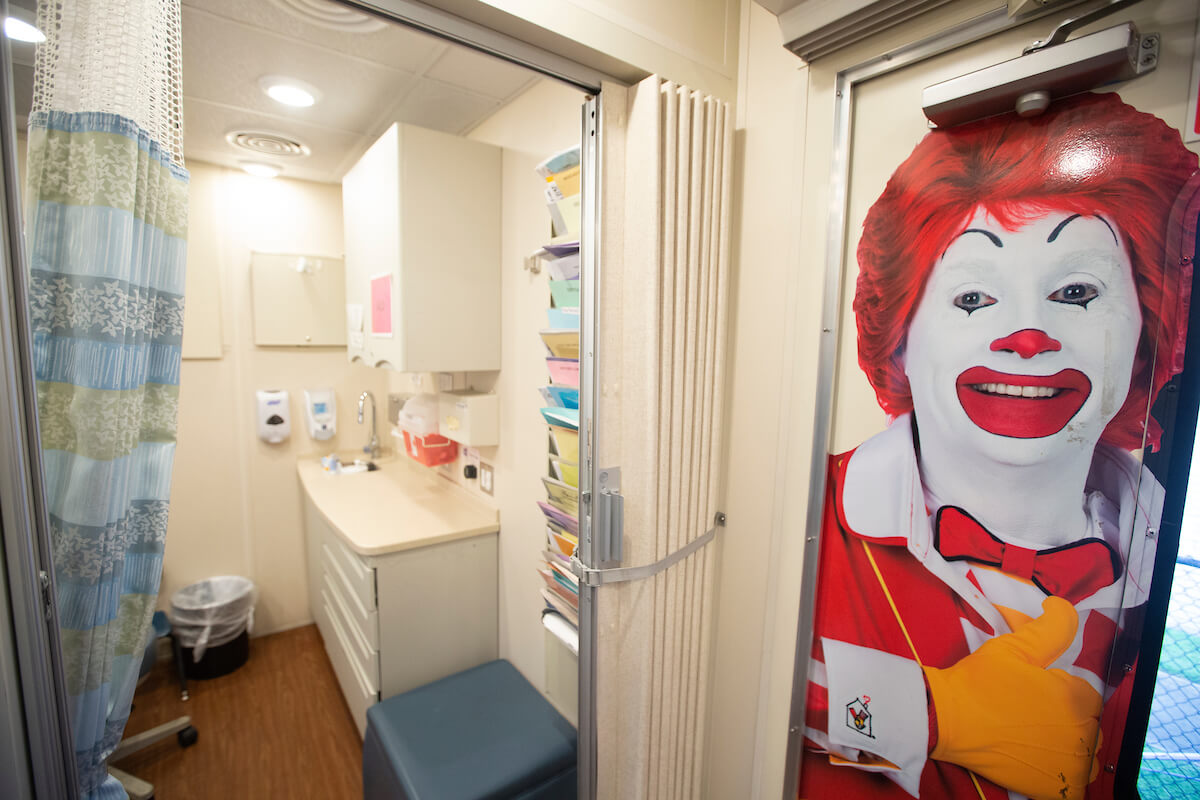 The Ronald McDonald Care Mobile has two rooms and provides a wide range of services.