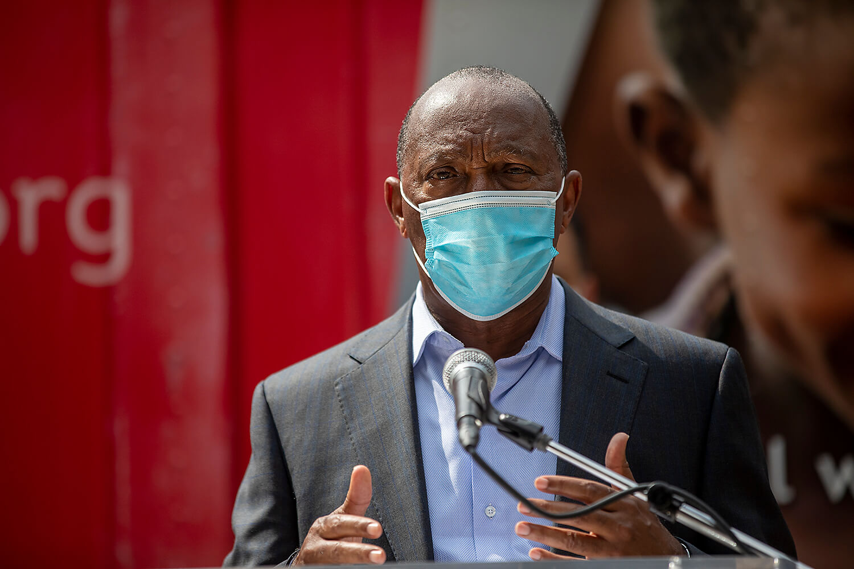 Houston Mayor Sylvester Turner speaks during the PPE donation drive.