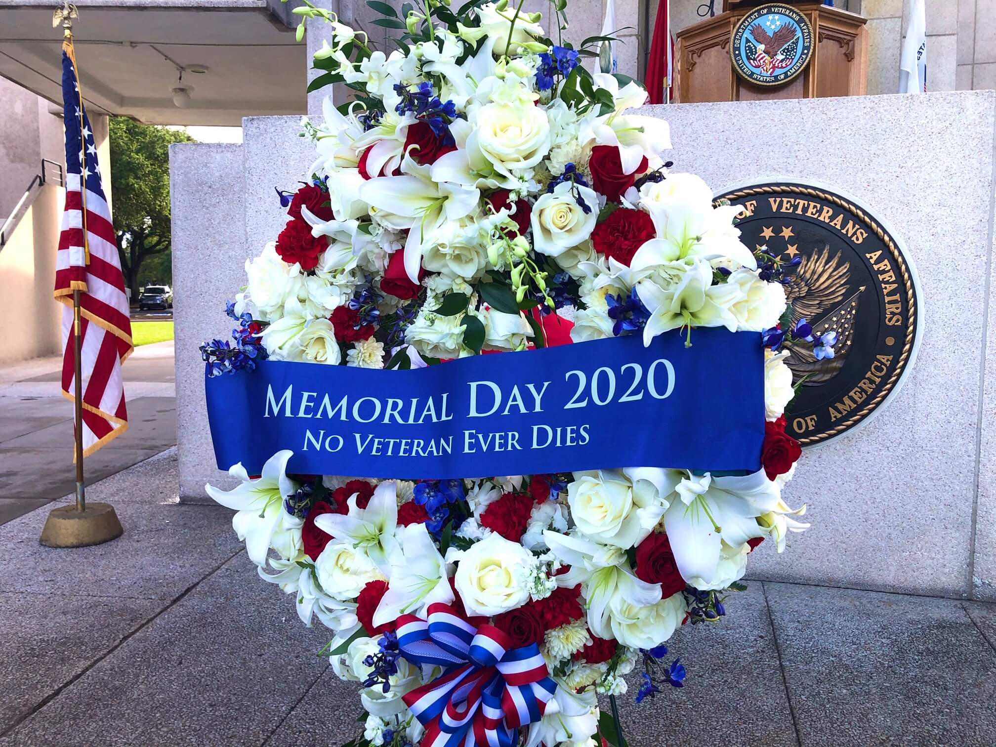 A wreath was placed at the cemetery in honor of the fallen.