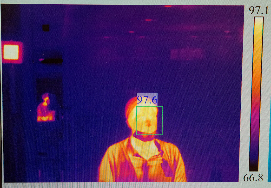 A thermal scanner captures the body temperature of a person entering Memorial Hermann-Texas Medical Canter.