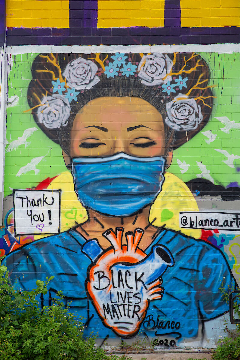 Close-up of a masked-up Sylvia Blanco piece. (Photo by Cody Duty)